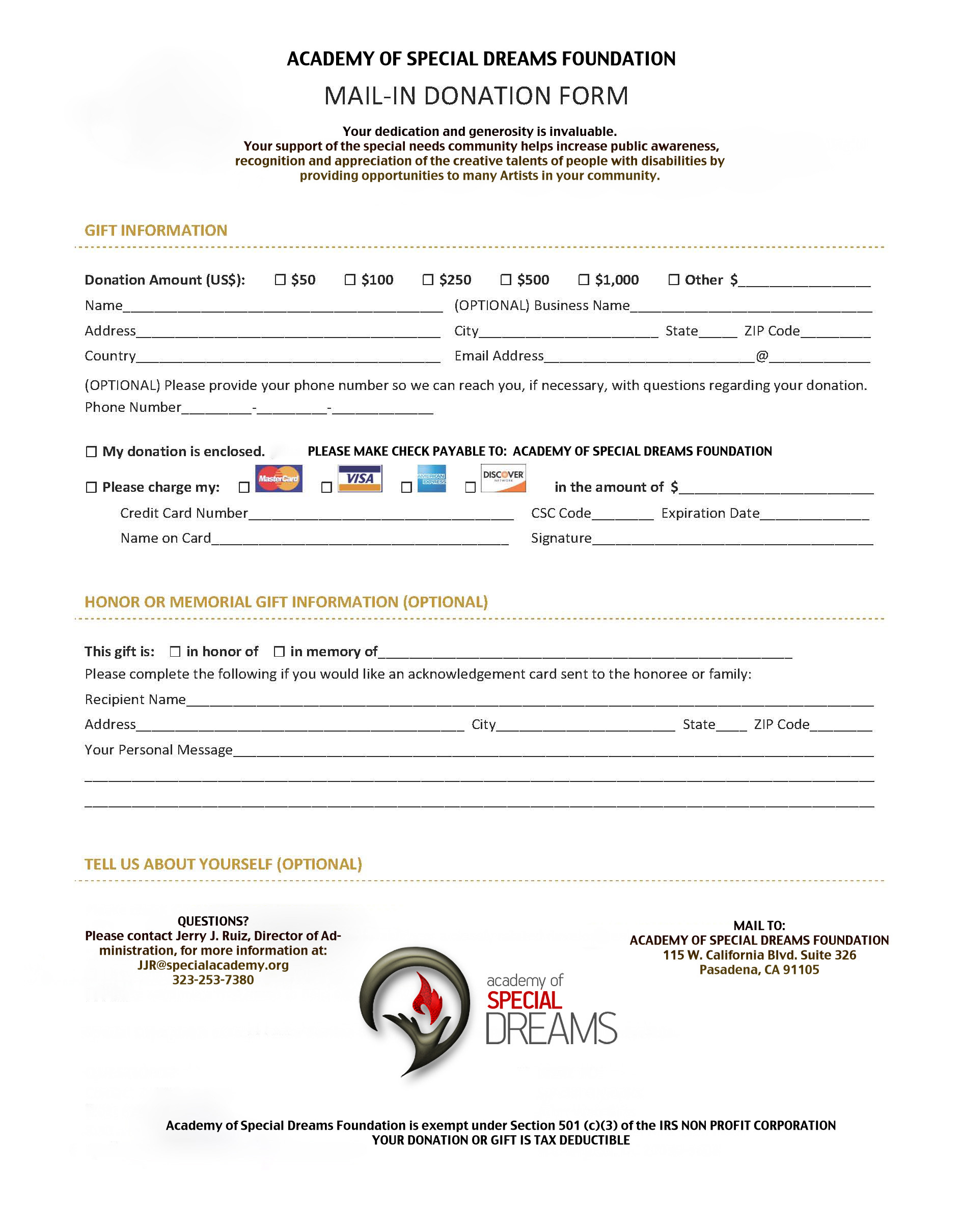 Donations Academy Of Special Dreams